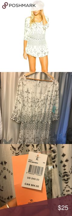 NWT Rip Curl native winds romper XL Recently purchased online, thought this was an XS, turns out its an XL 😞😒 and they were sold out of my size. Cute romper, frilly shorts and detailed buttons. Light weight material great for coverup or Summer time dinners 😍 pretty firm on price but open to offers Rip Curl Swim Coverups