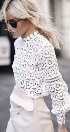 The Most Popular Genious Street Style Ideas To Try Right Now Net & Lace tops fashion outfit ideas The Best of summer fashion in Looks Street Style, Looks Style, Mode Outfits, Fashion Outfits, Womens Fashion, Fashion Blouses, Ladies Fashion, Office Outfits, Dress Fashion