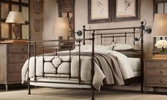 Ideas for Bedrooms: Wrought Iron Masculine  Love the color of the furniture, they said is natural wood but I see and ask kind of hue, try to find it and was not able to do it.