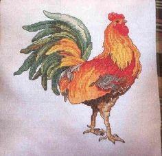 Up for sale is a counted cross stitch pattern taken from a needlework magazine. It is titled COLORFUL ROOSTER. Stitch count is x I suggest using the second choice if you are purchasing 3 or more patterns. Chicken Cross Stitch, Cross Stitch Bird, Cross Stitch Animals, Cross Stitching, Cross Stitch Embroidery, Cross Stitch Patterns, Modern Embroidery, Hand Embroidery Designs, Pinterest Diy Crafts