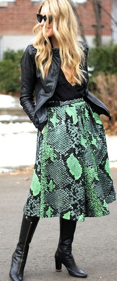 Wild Green Print Skirt Outfit Idea. Find similar animal print clothes and accessories at http://mandysheaven.co.uk/ - Women's Fashion Boutique UK