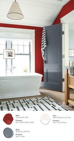 This bathroom balances deep and neutral colors to give off a serene look. Wall: Caliente AF-290, Aura Bath and Spa, Matte // Door: Wolf Gray 2127-40, Aura, Satin // Trim: White Opulence OC-69, Aura, Semi-Gloss.