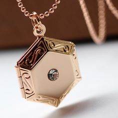 Fashion Locket Necklace, Brass, with 2lnch extender chain, Hexagon, plated, with photo locket & ball chain & with rhinestone, more colors for choice, nickel, lead & cadmium free, 18mm,china wholesale jewelry beads