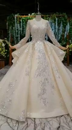 Glamorous long sleeve wedding gown with chapel train. Processing time full of high end handmade business day after payment dresses indian videos Glamorous long sleeve wedding gown with chapel train Wedding Gowns With Sleeves, Wedding Dress Train, Long Sleeve Wedding, Princess Wedding Dresses, Wedding Dress Styles, Dream Wedding Dresses, Bridal Dresses, Queen Wedding Dress, Muslim Wedding Dresses