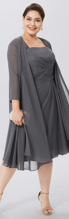 A-Line Two Piece Straps Knee Length Chiffon Mother of the Bride Dress with Crystal Brooch Pleats by LAN TING BRIDE®
