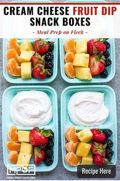 Cream Cheese Fruit Dip Snack Box - Meal Prep on Fleek™ Vegan Breakfast Recipes, Vegan Snacks, Healthy Snacks, Snack Recipes, Healthy Recipes, Healthy Eating, Breakfast Ideas, Clean Eating, Vegan Meal Prep