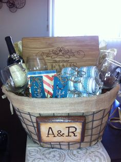 Bridal Shower gift basket- Could use Bloxstyle's Personalized Cutting Board & Wood Butter! www.bloxstyle.com #bloxstyle