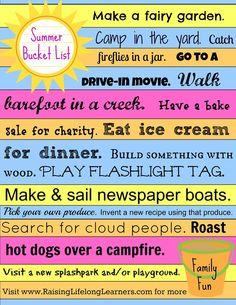 Summer Bucket List Family Fun Printable via www.RaisingLifelongLearners.com
