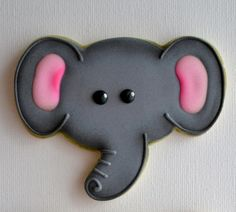 Elephant Face Cookie - Cute overall design but need to tweak to blue