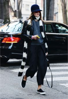 love the pieces love the look: carrot trousers gessato with vans+ grey knit+ perfecto+long stripy black and white scarf+hat+sunglasses