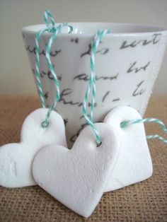 air dry clay - these pretty hearts can be used as gift tags or ornaments - another easy for the kids project that looks nice