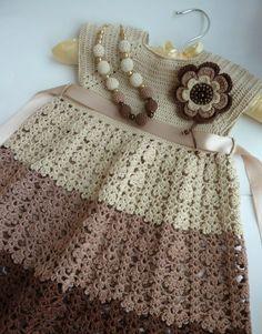 "Crochet brown and beige lovely girls dress ♥LCK-MRS♥ with diagrams and some picture instructions. ----- Вязание-это то что приносит удовольствие! : ""Винтажное"" платье для девочки."