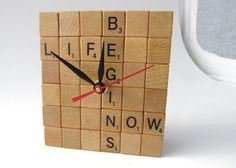 Scrabble Clock for Wall or Table by NeutrinoPuzzles on Etsy, $36.00