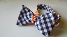 Orange and Blue Reversible Gingham Bow Tie
