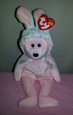 91d41645916 Ty Beanie Baby Bonnet the Pink Easter Bear w  Bunny Ear Hat - Sold