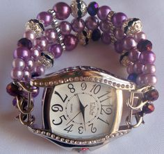 Lavendar Pearl Beaded Watch Band and Face  by BeadsnTime on Etsy, $35.00