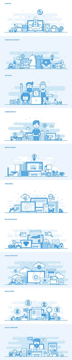 icon design tableau blue linework illustration