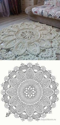 New Crochet Mandala Carpet Doily Rug 38 Ideas Crochet Doily Rug, Crochet Rug Patterns, Crochet Carpet, Crochet Mandala Pattern, Crochet Circles, Crochet Tablecloth, Crochet Diagram, Crochet Home, Thread Crochet