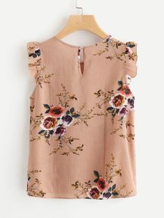 Shop Frilled Armhole Button Closure Back Shell Top online. SheIn offers Frilled Armhole Button Closure Back Shell Top & more to fit your fashionable needs. Floral Tops, Floral Shorts, Floral Blouse, Trendy Outfits, Cute Outfits, Fashion Outfits, Womens Fashion, Ootd Fashion, Mode Top