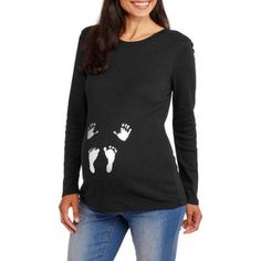 Maternity Long Sleeve Hands and Feet Graphic Tee, Size: Medium, Black
