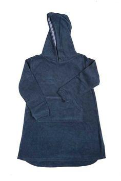 Kids' hooded towel top in navy