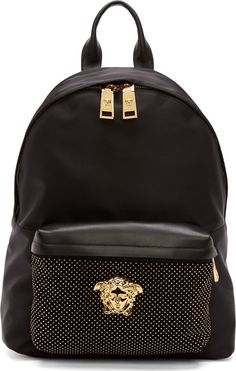 Versace Black Studded Medusa Backpack