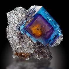 Fluorite, Cave-in-Rock, Illinois; An awesome example of multi-colored phantomed…