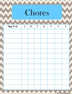 More pretty chevron! Printable Kid's Chore Charts