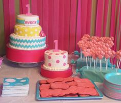 Happy 1st Birthday Avery! Birthday Party Dessert Table - By Badabing Cakes