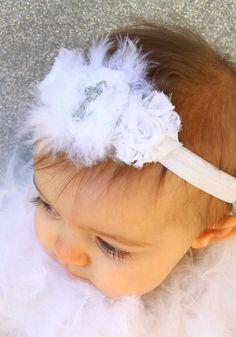 Baby Headband - Baptism Headband - White Christening  Shabby Flower Headband with Marabou Feathers and Sparkle Cross. $10.00, via Etsy.