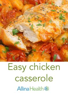 Easy chicken casserole: Fill up with fiber-rich whole-grain pasta! It'll keep you feeling fuller for longer and help to keep your digestive system healthy.  http://www.allinahealth.org/Health-Conditions-and-Treatments/Eat-healthy/Recipes/Main-dishes/Easy-chicken-casserole/