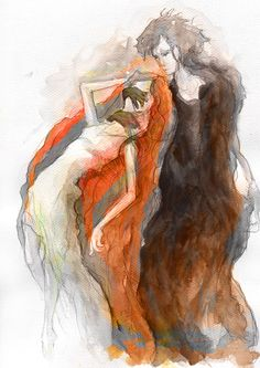 Goddess Kore kidnapped by Hades, watercolor, created for Montessori scholar system, by Maria Janczak   ( www.facebook.com/maria.janczak.artist )