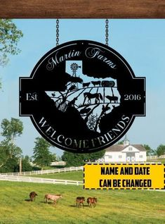 Personalized Farms Welcome friends Cut Metal Sign 24062106 - Cut Metal Sign - 1mm Black / Background / 18 X 18 inch