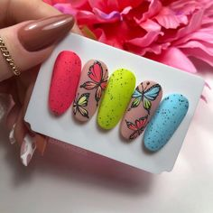 Butterfly Nail Designs, Butterfly Nail Art, Nail Salon Design, Simple Nail Designs, Spring Nails, Manicure, Enamels, Pretty Nails, Cute Nails