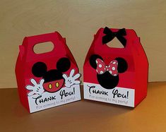 12 Minnie and Mickey Mouse Favor Boxes - Gable Boxes - Candy Bags Mickey Mouse Favors, Fiesta Mickey Mouse, Red Minnie Mouse, Mickey Mouse Clubhouse Birthday, Mickey Mouse Parties, Mickey Party, Mickey Mouse Birthday, Mickey E Minie, Disney