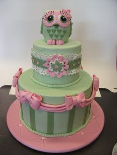 Pink and Sage baby shower cake 3 ways - by SugarAllure @ CakesDecor.com - cake decorating website