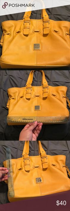 """Dooney & Bourke! Goldenrod! Leather! Vintage! Large Dooney & Bourke 💼! Good used condition! Holds a lot. Leather with gold accents. Bag can be """"gathered"""" with leather pulls on either side of bag. This is either and arm bag or possibly a shoulder bag depending on your preference.  Great opportunity to own a Dooney for a fraction of the retail price. No dust bag....make an offer💰 Dooney & Bourke Bags Shoulder Bags"""