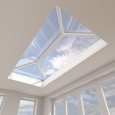 Skypod Glass Roof Lantern Stylish minimalistic look. Contemporary & eye-catching design floods the interior with natural light. Cost-effective way to enhance a tired flat roof extension . Roof Skylight, Roof Window, Skylights, Skylight Bedroom, House Extension Design, Roof Extension, Orangery Extension, Pergola With Roof, Patio Roof