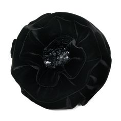 This very impressive and unique flower brooch by Amalia Karageorgou, is handcrafted from the highest quality black velvet and it is embellished with black sequins. The name of the brooch is Black Swan.Measurements: 15cm x 15cm.Pin fastening.