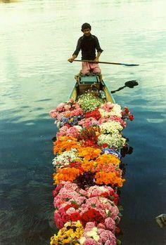 Vendedor de flores en #Xochimilco, #México! Maravillas de México!