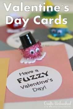 Valentines Cards - with a cute pom pom guy