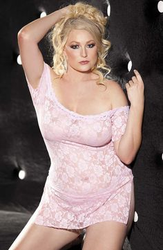 Shirley of Hollywood SoH-HL 96351Q (Plus Size) Pink Chemise