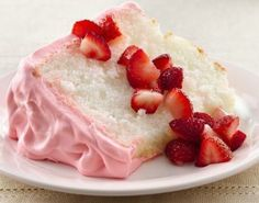 This light-as-air angel food cake with pretty pink strawberry frosting is creamy, dreamy, and only requires five ingredients plus water! Look for strawberry glaze in the produce section of your supermarket.