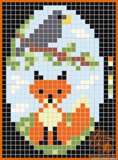 fox and crow beading pattern Cross Stitch Cards, Beaded Cross Stitch, Cross Stitch Animals, Modern Cross Stitch, Cross Stitching, Cross Stitch Embroidery, Cross Stitch Patterns, Pixel Art, Seed Bead Crafts