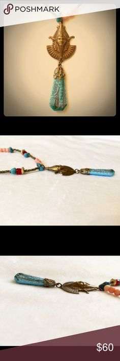 ✨Handmade Egyptian Pharaoh Necklace✨ New with tag.  OOAK.  Handmade Egyptian pharaoh pendant hangs from a beaded necklace.  Lobster claw clasp closure. Handmade Jewelry Necklaces