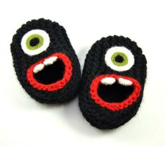 Wool Baby Monster Slippers - Black, Wool Baby Slippers, Crib Shoes, Booties on Etsy, $24.00