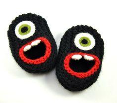 Botitas de lana bebé monstruo Zapatillas  negro zapatillas