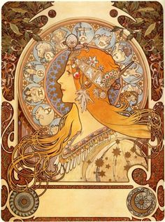 The rags to riches story of Czech Art Nouveau artist Alphonse Mucha. Living alone in Paris in Alphonse Mucha barely made enough money to feed himself. There had been better times. Mucha Artist, Alphonse Mucha Art, Illustration Art Nouveau, Art Nouveau Poster, Victorian Illustration, Design Art Nouveau, Art Design, Design Elements, Arte Van Gogh
