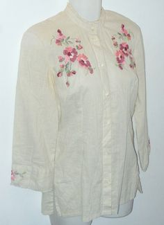 fdc67823a36dd9 Lucky Brand Ivory S Embroidered Button-down Top Size 6 (S)