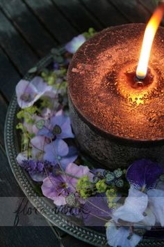 Hydrangea and alchemilla mollis. Decorated outdoor candle by Ingela Waismaa /Flora varia